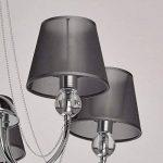 Lustre Plafonnier Moderne à 5 Lampes en Métal couleur Chrome avec Abat-jours en Organza Noir décoré de Cristal pour Chambre Salon Chambre à Coucher 5x40W E14 de la marque MW-Light image 2 produit