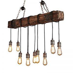 Lustre Plafonnier Suspension Chambre Lampe Rétro Industriel Vintage avec Bois et Métal Réglable pour E27*10 Suspendu éclairage de la marque CARYS image 0 produit