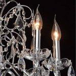 Lustre Suspension Baroque à 6 Lampes Bougies en Métal couleur Argent Brillant décoré de Pampilles en Cristal et Verre Gravé pour Salon Hall d'Entrée 6x60W E14 de la marque MW-Light image 3 produit