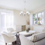 Lustre Suspension de Style Moderne en Métal Blanc Patiné en Or avec 5 Abat-jours en Tissu Blanc décoré de Pendeloques en Cristal pour Salle de Séjour ou Salon 5x40W E14 de la marque MW-Light image 1 produit