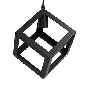 Lustre/Suspension en forme de cube de type industrielle Style vintage, teinte métallique noire Idéal pour café, bar ou cuisine, Ampoules E27 non incluses de la marque MONODY image 0 produit