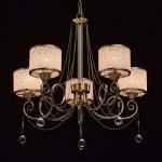 Lustre Suspension Moderne à 5 Lampes en Métal couleur Bronze Antique décoré de Pendeloques en Cristal avec Abat-jours en Boules Acryliques pour Chambre Salon 5x40W E14 de la marque MW-Light image 1 produit