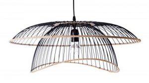 Lustre Vintage - Grande Suspension Flore - Luminaire métal et rotin - 0 63,5 x H 31 cm - E27 60W -noir de la marque LUSSIOL image 0 produit