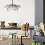 Lustre Vintage - Grande Suspension Flore - Luminaire métal et rotin - 0 63,5 x H 31 cm - E27 60W -noir de la marque LUSSIOL image 1 produit