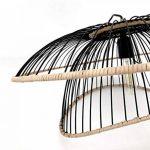Lustre Vintage - Grande Suspension Flore - Luminaire métal et rotin - 0 63,5 x H 31 cm - E27 60W -noir de la marque LUSSIOL image 2 produit