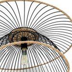 Lustre Vintage - Grande Suspension Flore - Luminaire métal et rotin - 0 63,5 x H 31 cm - E27 60W -noir de la marque LUSSIOL image 3 produit