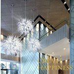 Lustres de boule de feu d'artifice d'étoile, plafonnier post-moderne d'acier inoxydable LED Lustre de fer de salon de fer créatif lampe pendante de salle à manger, lumière chaude de la marque DFMD image 2 produit