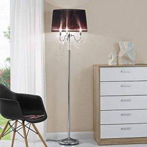 [lux.pro] lampadaire lampe sur pied (3 x socles E14)(165 cm x Ø 45 cm) pied chromé + abat-jour noir + pendeloque de cristal lampe lampe de salon luminaire lampadaire de la marque lux.pro image 0 produit
