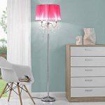 [lux.pro] lampadaire lampe sur pied (3 x socles E14)(165 cm x 45 cm) pied chromé + abat-jour rose vif + pendeloque de cristal lampe lampe de salon luminaire lampadaire de la marque lux.pro image 1 produit