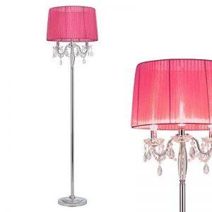 [lux.pro] lampadaire lampe sur pied (3 x socles E14)(165 cm x 45 cm) pied chromé + abat-jour rose vif + pendeloque de cristal lampe lampe de salon luminaire lampadaire de la marque lux.pro image 0 produit
