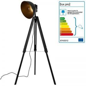 lux.pro] Lampadaire trépied avec Abat-Jour Design Industriel Lampe sur Pied Métal Noir et Or 135 cm x 60 cm de la marque lux.pro image 0 produit