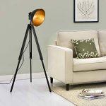 lux.pro] Lampadaire trépied avec Abat-Jour Design Industriel Lampe sur Pied Métal Noir et Or 135 cm x 60 cm de la marque lux.pro image 1 produit