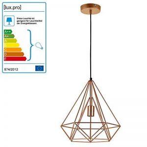 [lux.pro] LED lampe à suspension Industria - laiton / plafonnier (1 x socle E27)(37cm x Ø 40cm) lampe à suspension / vintage / design rétro / design industriel (laiton) de la marque lux.pro image 0 produit