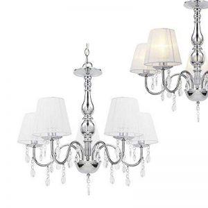 [lux.pro] lustre cristal blanc E14 moderne plafonnier 5 flammes chrome de la marque lux.pro image 0 produit