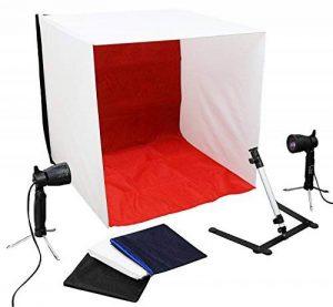 Luxburg® Tente cubique studio photo lumiere + 2 50W lampes et 4 toiles de fond kit 60x60x60 de la marque Luxburg® image 0 produit