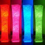 lvyuan Lampadaire Design Moderne Lampe de Sol Abat-jour en Tissu Plissé avec 2 Ampoules Intelligentes à télécommandepour Salon Chambre Decoration 26x26x132cm Europäischer Netzstecker de la marque lvyuan image 3 produit