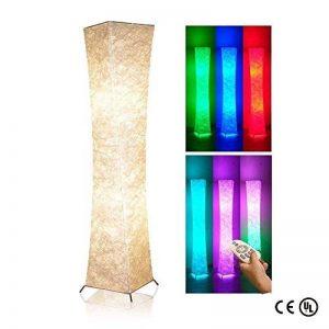 lvyuan Lampadaire Design Moderne Lampe de Sol Abat-jour en Tissu Plissé avec 2 Ampoules Intelligentes à télécommandepour Salon Chambre Decoration 26x26x132cm Europäischer Netzstecker de la marque lvyuan image 0 produit