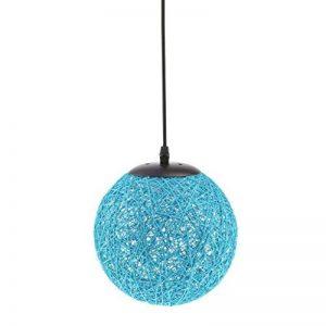 MagiDeal Lampe de Table en Rotin avec Câble Boule de Globe Plafond Suspension 20cm - bleu de la marque MagiDeal image 0 produit