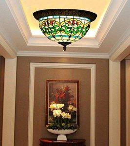 Makenier Vintage en verre style Tiffany effet vitrail Motif rayures Vert Fleur Montage encastré Plafonnier, 30,5cm Abat-jour de la marque Makenier image 0 produit