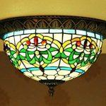 Makenier Vintage en verre style Tiffany effet vitrail Motif rayures Vert Fleur Montage encastré Plafonnier, 30,5cm Abat-jour de la marque Makenier image 2 produit