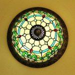 Makenier Vintage en verre style Tiffany effet vitrail Motif rayures Vert Fleur Montage encastré Plafonnier, 30,5cm Abat-jour de la marque Makenier image 3 produit