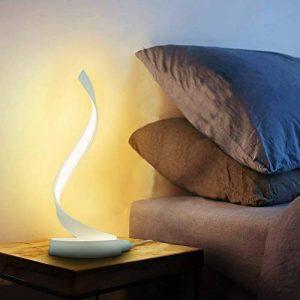 Makion Nouvelle LED Spirale Lampe de table, moderne contemporaine Minimaliste courbe Led Lampe de table de chevet pour Chambre Salon, Dimmable & Touch Control Lumière, blanc chaud, 15w de la marque Makion image 0 produit