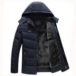 Manteau en Coton à Capuche Grande Taille Et Velours Épais Rawdah Men Boys Casual Warm Hooded Winter Zipper Coat Outwear Jacket Top Blouse de la marque Rawdah-Manteau image 1 produit