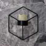 Manyo Bougeoir Mural Fer forgé Nordique Style 3D Géométrique Chandelier Décoration d'intérieur (Noir) de la marque Manyo image 2 produit