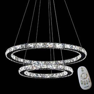 mctech® 48W 63W 72W 96W Luxe moderne a conduit pendentif en cristal Lustre Suspension Plafonnier avec bague deux/trois, 48W Kaltweiß, LED strip 48.0 wattsW de la marque MCTECH image 0 produit