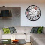 Mecotech Ø 50 CM Métal Horloge Murale XXL Pendule Murale Design Silencieuse Horloge Decorative pour Maison/Cuisine/Chambre/Salon/Bureau Horloge Murale (Noir) de la marque Mecotech image 2 produit