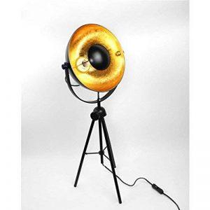 Meubletmoi Lampadaire Vintage Style Industriel loft projecteur - trépied - Noir et Or - Petit modèle - Studio de la marque Meubletmoi image 0 produit
