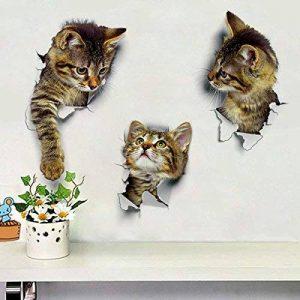 Mignon Chats Stickers Muraux Salon Chambre Décorations Créatif 3D Animal Stickers Muraux Une Salle Autocollants De Toilette de la marque HTRPF image 0 produit