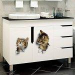 Mignon Chats Stickers Muraux Salon Chambre Décorations Créatif 3D Animal Stickers Muraux Une Salle Autocollants De Toilette de la marque HTRPF image 1 produit