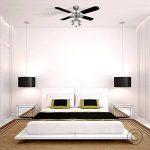 MiniSun 106 cm, Moderne Ventilateur de Plafond en Nickel avec lampes - 4 spot intégré et pales inversibles (1 cote noir ou 1 cote argenté) de la marque MiniSun image 1 produit