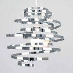 MiniSun, Abat-Jour Moderne en CHROME POLIS, Lustre Suspension. Double spirales en Métal, spirales en cascade de la marque MiniSun image 3 produit