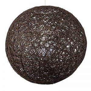 MiniSun Abat Jour Moderne pour Suspension. Ballon de 30 cm en Osier Tressé MARRON. Adapte pour Douille de 42 mm avec bague de réduction pour douille de 28 mm de la marque MiniSun image 0 produit
