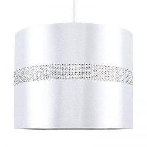 MiniSun Abat-Jour pour Suspension 'ROLLER' Design Contemporain - Tambour Finition en Tissu Blanc Décoré avec Diamante. Cordon électrique Non-Fourni de la marque MiniSun image 0 produit