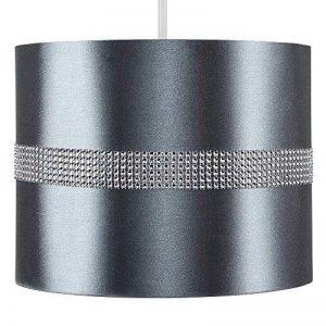 MiniSun Abat-Jour pour Suspension 'ROLLER' Design Contemporain - Tambour Finition en Tissu Gris Décoré avec Diamante. Cordon électrique Non-Fourni de la marque MiniSun image 0 produit