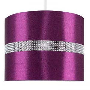 MiniSun Abat-Jour pour Suspension 'ROLLER' Design Contemporain - Tambour Finition en Tissu Violette Décoré avec Diamante. Cordon électrique Non-Fourni de la marque MiniSun image 0 produit