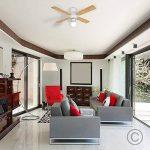 MiniSun Blanc et Hêtre, 106 cm Ventilateur de Plafond moderne avec une abat jour en verre opale dépolis et 4 pales réversibles en hêtre ou blanc de la marque MiniSun image 3 produit