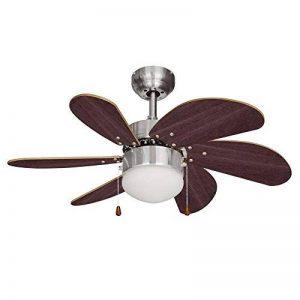MiniSun Chrome-argenté et effet noyer, 76 cm Ventilateur de Plafond moderne. 6 pales. Lampe intégré avec abat jour en verre opale dépolis de la marque MiniSun image 0 produit