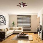 MiniSun Chrome-argenté et effet noyer, 76 cm Ventilateur de Plafond moderne. 6 pales. Lampe intégré avec abat jour en verre opale dépolis de la marque MiniSun image 2 produit