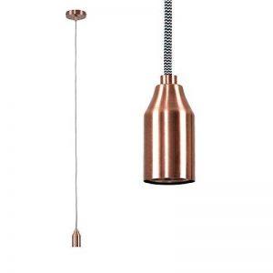 MiniSun - Cordon électrique (système d'éclairage) Contemporain. Rosace et Culot de Lampe en Effet Cuivre avec un câble tressé blanc & noir de la marque MiniSun image 0 produit