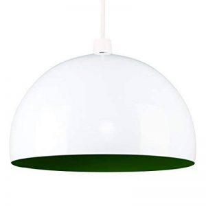 """MiniSun dôme """"LOFT"""" Abat-Jour Abats Jour pour Lustre ou Suspension. Boule / Globe en Acier. BLANC BRILLANT et Citron Vert à l'intérieure Rétro ou Contemporain ,Adapté pour Douille de 42 mm (ou de 28 mm avec bague de réduction) de la marque MiniSun image 0 produit"""