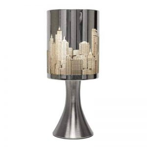 MiniSun 'Horizon - NEW YORK'. Lampe de Table, Chevet Touch Moderne. Variateur Touch intégré. Pied Contemporain en chrome avec Abat-Jour 'Gratte Ciel' aspect chrome polis de la marque MiniSun image 0 produit