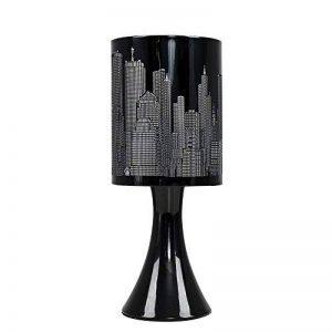 MiniSun 'Horizon - NEW YORK'. Lampe de Table, Chevet Touch Moderne. Variateur Touch intégré. Pied Contemporain en Noir Brillant avec Abat-Jour 'Gratte Ciel' Noir de la marque MiniSun image 0 produit