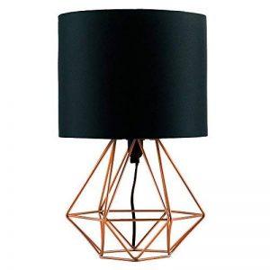 MiniSun Lampe de Chevet, Lampe de Table 'Angus' Aspect Rétro Pied - Cage Géométrique en effet Cuivre Brossé & Abat-Jour Tambour en Tissu Noir de la marque MiniSun image 0 produit