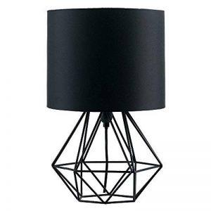 MiniSun Lampe de Chevet, Lampe de Table 'Angus' Aspect Rétro Pied - Cage Géométrique en Noir Satiné & Abat-Jour Tambour en Tissu Noir de la marque MiniSun image 0 produit