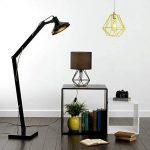 MiniSun Lampe de Chevet, Lampe de Table 'Angus' Aspect Rétro Pied - Cage Géométrique en Noir Satiné & Abat-Jour Tambour en Tissu Noir de la marque MiniSun image 3 produit