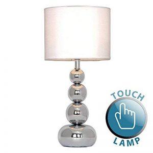 MiniSun Lampe de Table, Chevet, Bureau. Variateur Touch, Tactile, Contemporain Moderne Eclairage 4 niveaux Chrome Polis et Blanc effet Soie de la marque MiniSun image 0 produit